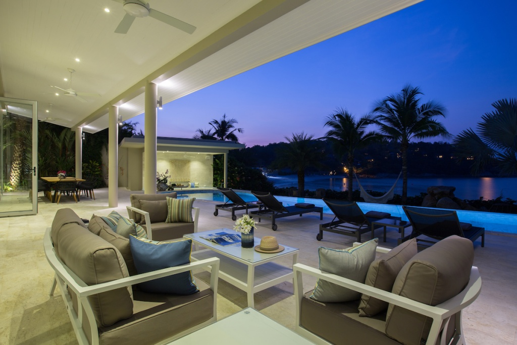 Outdoor lounge at Bayside villa 4. A luxury and private 6 bedroom ocean view villa overlooking Samrong Bay, Koh Samui, Thailand